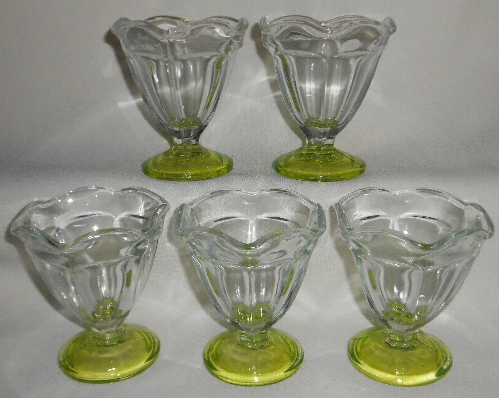 Primary image for Set (5) Vintage ANCHOR HOCKEY Clear w/Green Base GLASS SHERBETS