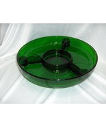 Vintage Forest Green Glass Divided Lazy Susan Tray 3 Candle/Toothpick Ho... - $74.25