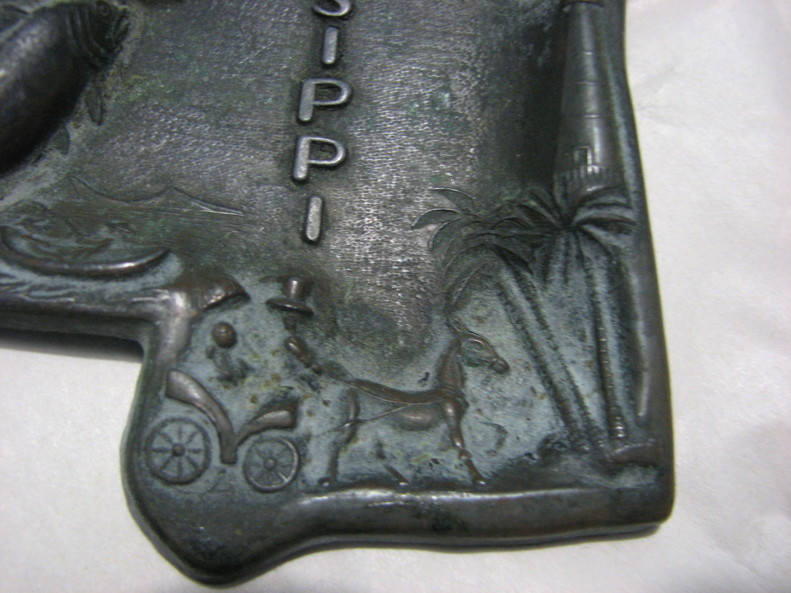 Vintage Tray Mississippi Tourism Copper Embossed Made in Japan