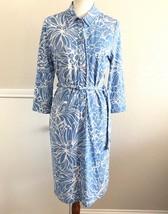 Talbots Womens Jersey Knit Shirt Dress Size Large Petite Blue White Printed - $26.72