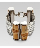 New Gucci Sterling Silver & Bamboo Wood Bracelet MSRP $1,890 Size 18 - $1,286.99