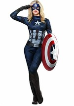 Marvel Captain America Women's Costume Quilted Zipper 3D Look Extra Small XS - $59.39