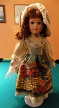 "23"" Porcelain Doll w/ Garden painted Dress  Flowers Sausage Link Curls G... - $178.20"