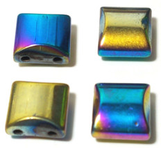 MULTI COLOR RAINBOW SQUARE HEMATITE BEADS 2 HOLE SPACER BEAD 10X10MM 10 PCS