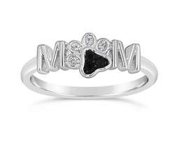 """0.050CT Round White & Black CZ 925 Silver """"Mother's Day"""" Special """"MOM PE... - $98.00"""