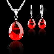 Fashion Crystal Water Drop Brand Jewelry Sets 925 Sterling Silver Pendan... - $12.17