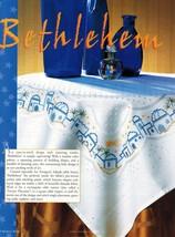 Cross Stitch Christmas Bethlehem Candle Holly Seasonal Tablecloth Runner... - $11.99