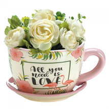 All You Need is Love Pink Flamingo Tea Cup Planter - $29.99