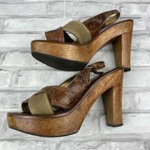 "Gianni Bini Step Out Brown Leather Criss Cross Slingback Wood 4.5"" Heel 7M - $19.34"