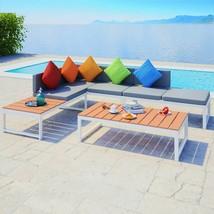 vidaXL Garden Corner Sofa Set 19 Piece Aluminum WPC Outdoor Patio Furniture - $505.99