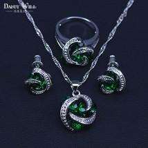 Classic Round Green Cubic Zircon Women's silver color Jewelry Sets Hoop Earrings - $19.92