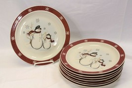 "Royal Seasons Snowman Xmas Dinner Plates 10"" Set of 8 - $61.69"