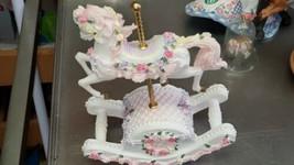 Vintage Musical Rocking Caroousel  Ceramic  Resin  Tune The Carousel Waltz  - $30.00