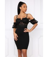 Sexy Black  Party Bodycon Mini Dress, Off Shoulder Ruffled Sleeves, S, M... - £33.17 GBP