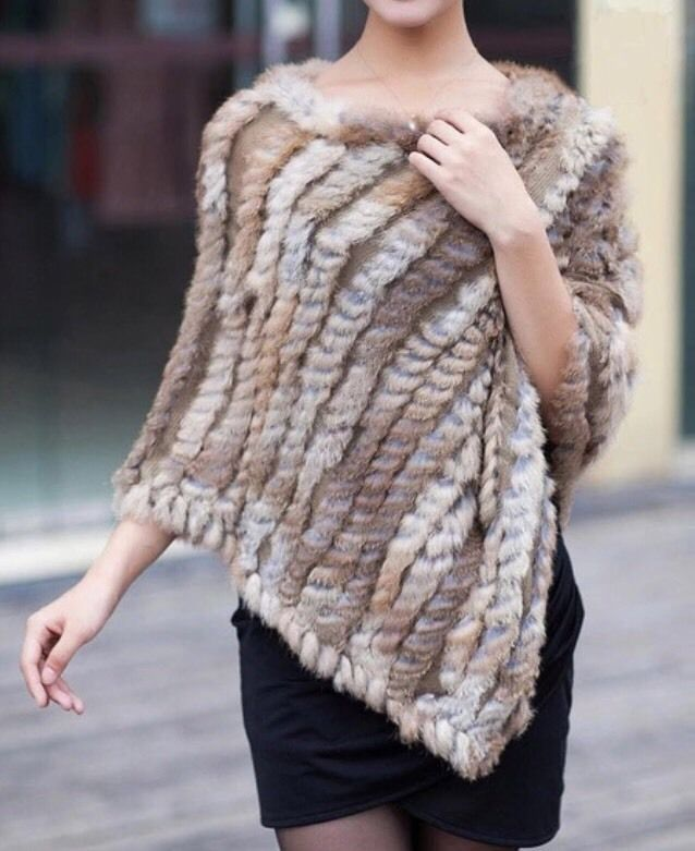 Knitted Natural Rabbit Fur Stole / Shawl Soft And Warm NWOT