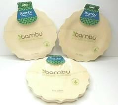 """3 Bambu Bamboo 9"""" Plates Organic Biodegradable Compostable Serve 8 Ct Ea... - $27.71"""
