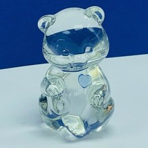 Fenton art glass birthday stone teddy bear paperweight Blue figurine scu... - $19.22