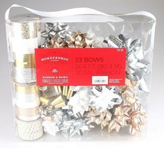 Wondershop Gold Silver White 264 Ft Ribbon 33 Bows Gift Wrapping Kit Set NEW image 1