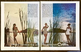 1960 Catalina Swimsuits 2-page PRINT AD Loveliest Reason to Stay in the Sun - $12.69