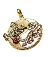 COOL YIN YANG Dragon Tiger Gold VERMEIL GARNET PENDANT CHARM - $68.16