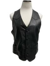 Pionner Wear women's vest lambskin leather black button front size 38 - $28.70