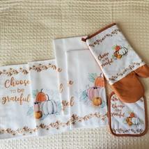 Kitchen Linens Set, 6pc, Choose to be Grateful, Pumpkins Orange Thanksgiving image 2