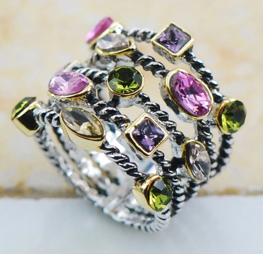 Silver Gold Plated Natural Amethyst Peridot Topaz Ring Sz7