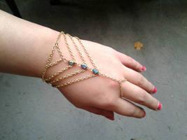 Bohemian Caged Slave Bracelet Gems Hand Chain Chevron Bracelet Gold Cage... - $83.00
