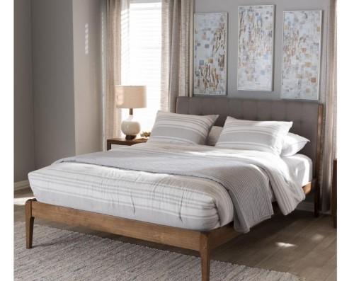 Wood Platform Bed Upholstered Headboard Queen Size Home Bedroom Furniture