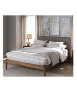 Wood Platform Bed Upholstered Headboard Queen Size Home Bedroom Furniture - $468.99
