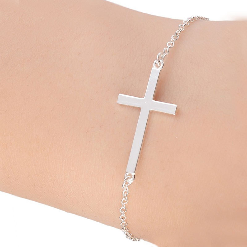 Ssic big cross braclet charm silver gold color bracelets for women girls men jewelry accessories