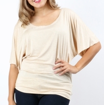 Plus Size Dolman Sleeve Tops, Plus Size Tops, Plus Size Batwing Tops, Beige