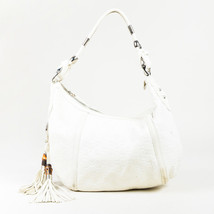 "Gucci Cream Leather ""Guccissima"" Embossed Medium ""Techno Horsebit Hobo"" Bag - $460.00"