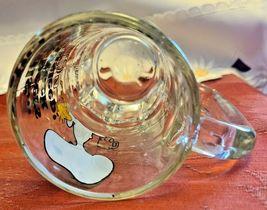 "Vintage SNOOPY Woodstock Peanuts ""Too Much Root Beer"" GLASS DRINKING MUG 1965 image 4"