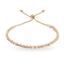 Rose Gold Flashed Sterling Silver Polished Spiga Chain Adjustable Pull-S... - $69.20
