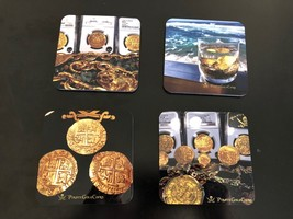 COASTERS BY PIRATE GOLD COINS SET OF 4 FAVORITE TREASURE PHOTOS OF ESCUD... - $49.95