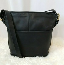 Vintage Coach S Leather Crossbody Bag Black 4153 Bleeker Bucket - $93.49