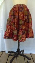 c1920 women's lined multicolored silk skirt, purple, red, green, orange - $2.99