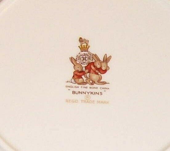 "Royal Doulton Bunnykins- 8"" Child Dinner Plate -Raft / Rafting Design SF111 -EUC image 5"