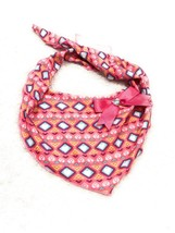 Dog Bandana Size XS/S Pink Heart And Diamond Shapes Ribbon Bow Gem - $8.33