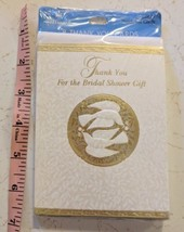 Hallmark Bridal Shower Thank You Card 8 Pack Sealed Doves in Gold Circle - $5.00