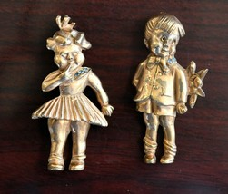 Vintage Gold Plated Boy and Girl Brooch Lapel Pin Set Movable w/Blue Rhi... - $39.59