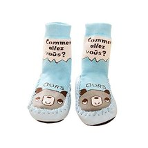 Summer Cartoon Long Style Babies Socking (Blue Bear Pattern, 13cm) image 1