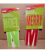 """Christmas Wood & Felt Words Signs 9pc Total Nole & Merry Red & Green 9"""" ... - $9.49"""