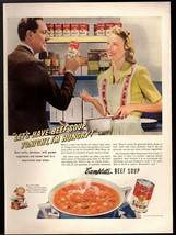 1942 Original Print Ad Cambell's Beef Soup Tonight I'm Hungry Advertise... - $9.49
