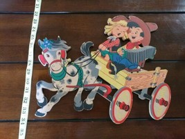 """VTG 1952 Dolly Toy Co Nursery Pin Up """"Buckaroos"""" Cowboy & Girl Horse & C... - $29.99"""