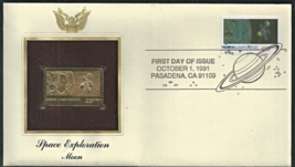 SPACE EXPLORATION - Moon First Day Gold Stamp Issue Oct. 1, 1991 - $6.50