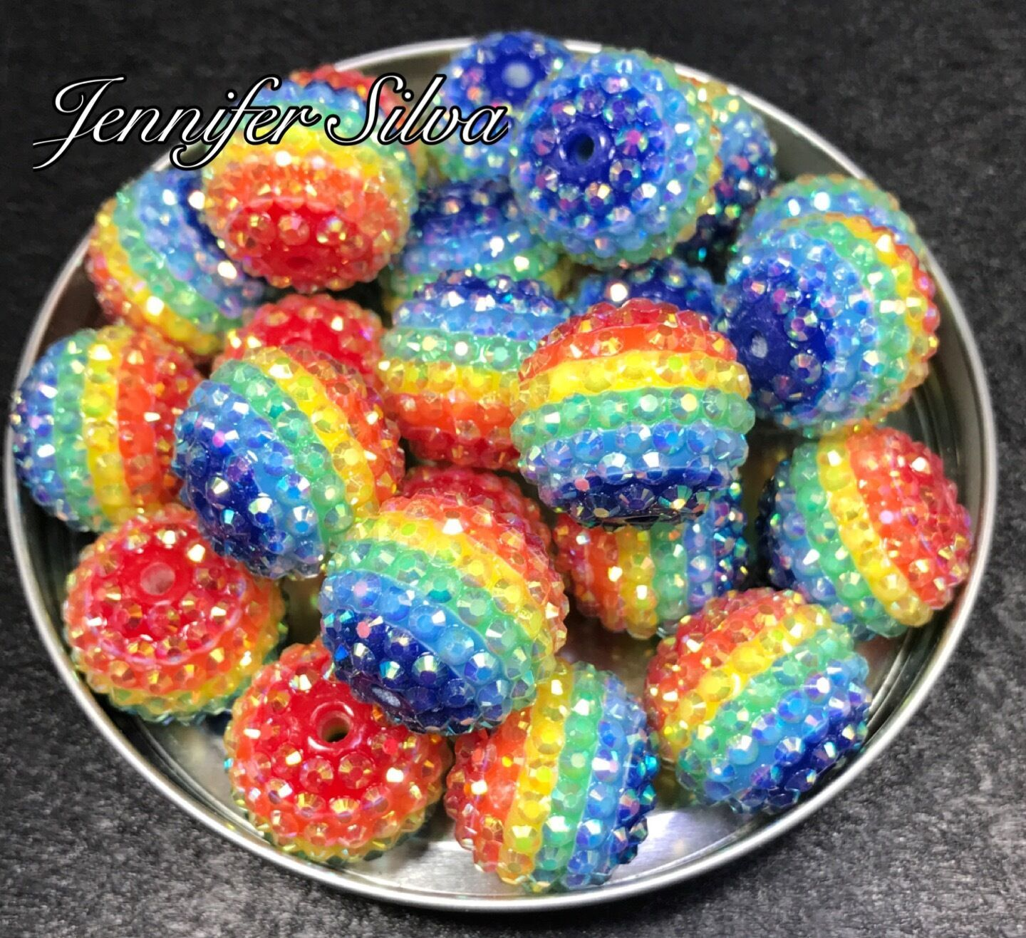 Rainbow Rhinestone Stripe Beads 22mm