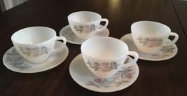 Federal Milk Glass CLOVER BLOSSOM Cups/Saucers Four Sets - $19.80