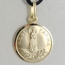 Pendant Yellow Gold Medal 750 18k, Madonna, Our Lady of Fatima, 15 MM image 1